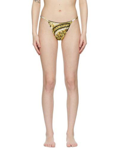 Хлопковые кружевные черные стринги Versace Underwear