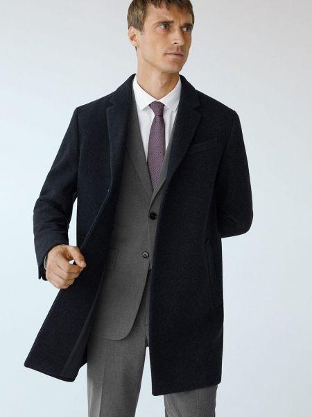 Синее шерстяное пальто с карманами Mango Man