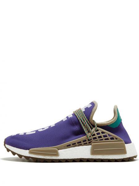 Fioletowe sneakersy sznurowane koronkowe Adidas By Pharrell Williams