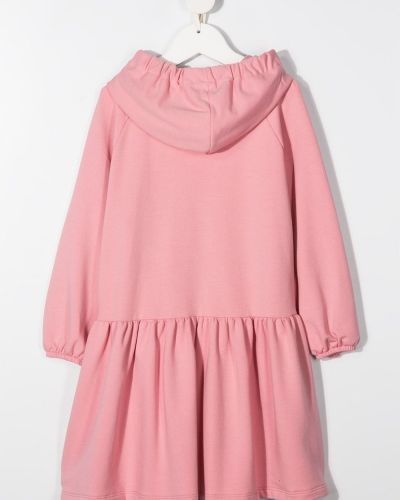 Трикотажное розовое платье макси с длинными рукавами Il Gufo
