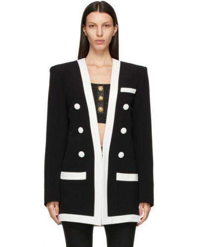 Черный удлиненный пиджак с подкладкой с воротником Balmain