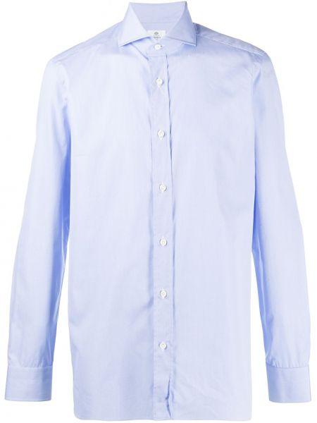 Синяя классическая классическая рубашка с воротником с длинными рукавами Borrelli