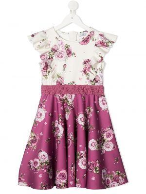 Прямое платье в цветочный принт с вырезом Monnalisa