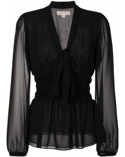 Блузка с поясом с V-образным вырезом с воротником-стойкой с бантом Michael Michael Kors