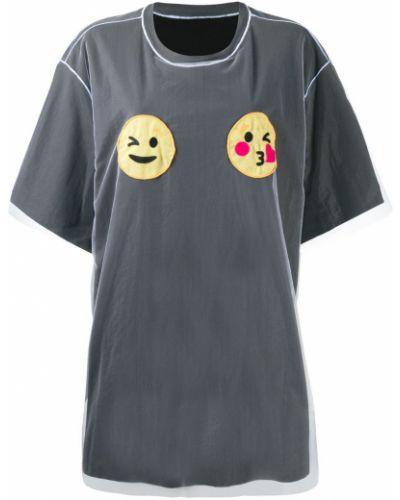 Прямая черная футболка из фатина с круглым вырезом Viktor & Rolf