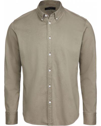 Brązowa koszula oxford bawełniana z długimi rękawami Rag & Bone