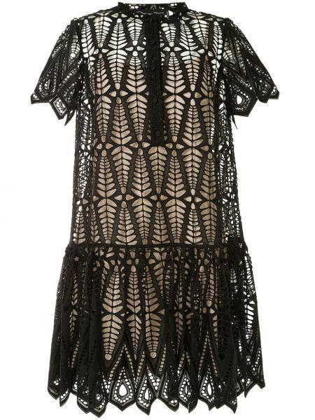 Ажурное черное платье мини с вырезом Oscar De La Renta