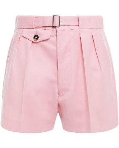 Шерстяные розовые шорты на крючках Maison Margiela