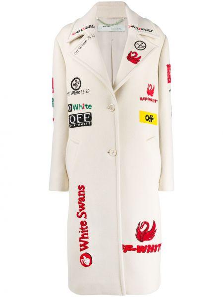 Белое шерстяное пальто на пуговицах с лацканами Off-white