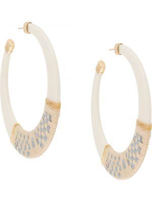 Плетеные белые серьги-кольца оверсайз с бабочкой Gas Bijoux