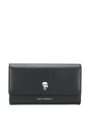 Черный кожаный кошелек на молнии Karl Lagerfeld