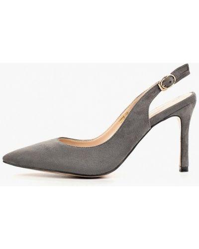 Туфли на каблуке серые с открытой пяткой Teetspace