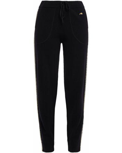 Шерстяные черные брюки в полоску Bella Freud