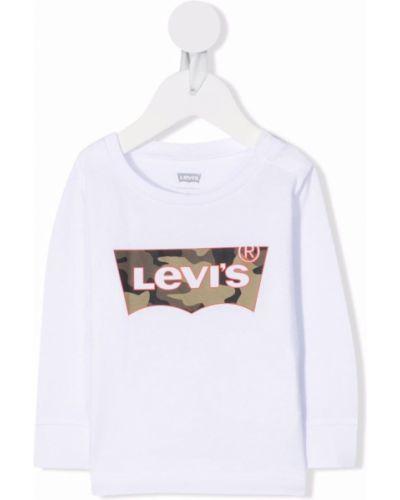 Biała t-shirt bawełniana Levis Kids