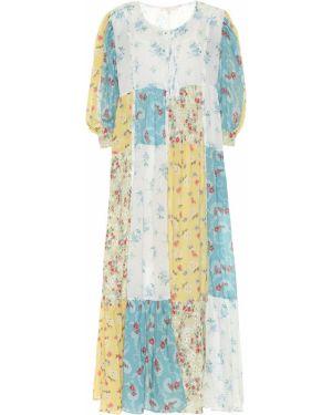 Ватное хлопковое платье миди с капюшоном пэчворк Loveshackfancy