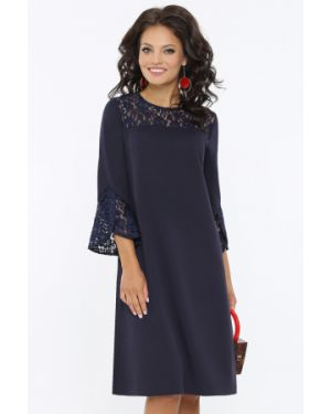 Кружевное свободное классическое вечернее платье с манжетами Dstrend