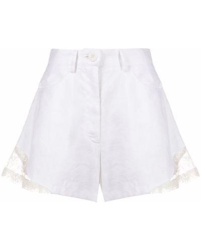 Льняные белые шорты с карманами Almaz