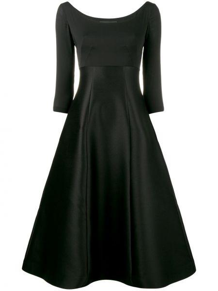Шелковое черное расклешенное платье миди с вырезом Vika Gazinskaya