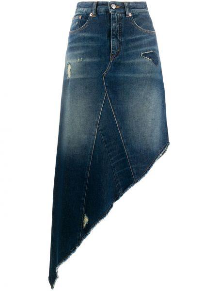 Синяя классическая асимметричная джинсовая юбка на молнии Mm6 Maison Margiela
