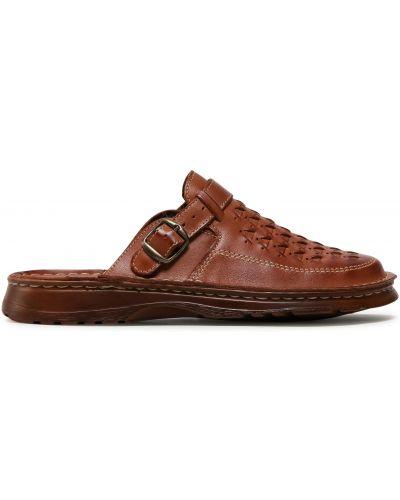 Кожаные шлепанцы - коричневые Waldi