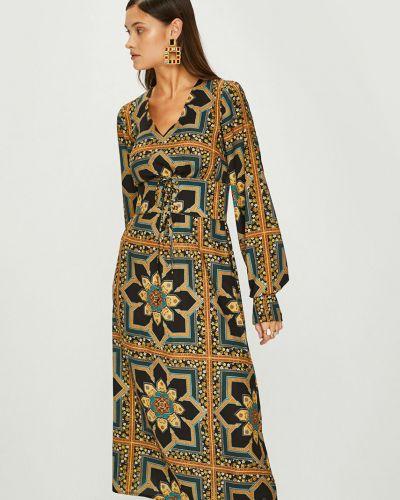 Платье с поясом с V-образным вырезом макси Answear