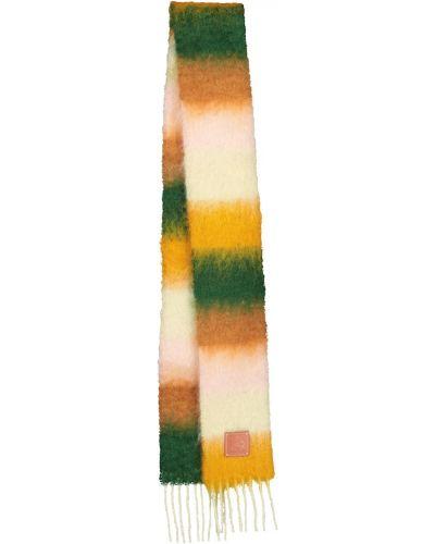 Зеленый шерстяной шарф в полоску Loewe