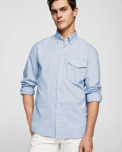 Голубая рубашка однотонная Mango Man