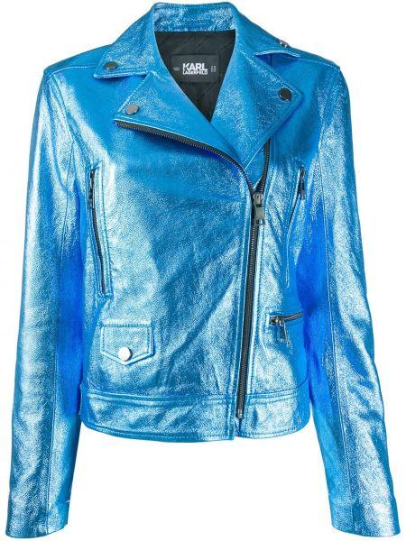 Niebieska długa kurtka skórzana z długimi rękawami Karl Lagerfeld