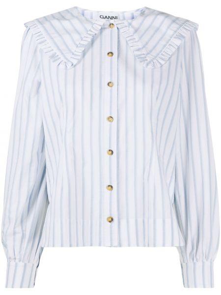 Biała koszula z długimi rękawami - biała Ganni