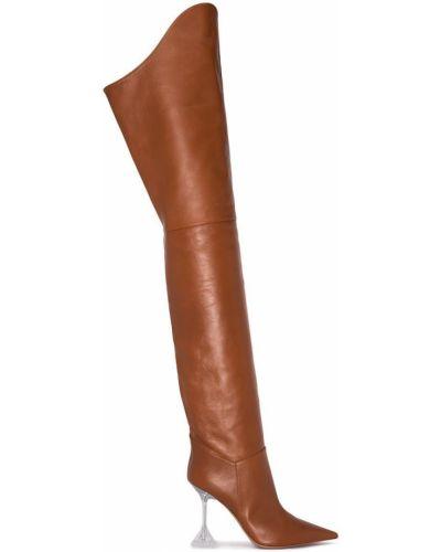 Коричневые кожаные ботфорты на каблуке Amina Muaddi