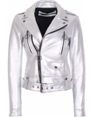 Кожаная куртка на молнии с карманами Off-white