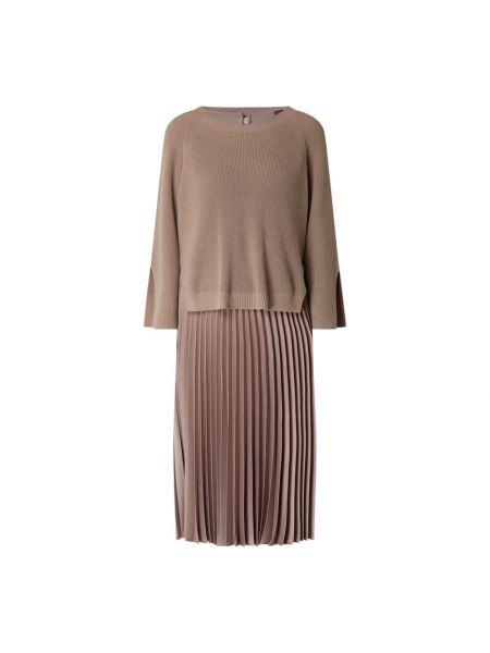 Brązowa sukienka rozkloszowana bawełniana Riani