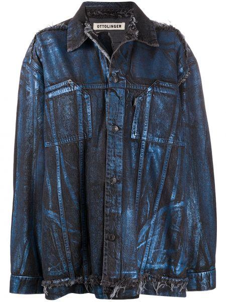 Синяя джинсовая куртка оверсайз с воротником Ottolinger