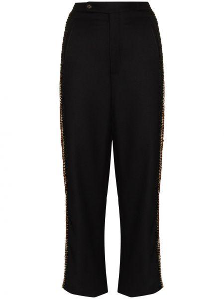 Czarne spodnie wełniane Bode