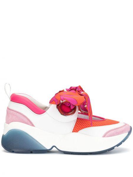 Skórzane sneakersy białe przeoczenie Emilio Pucci