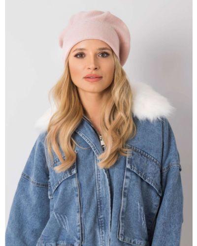 Różowy beret z akrylu Fashionhunters