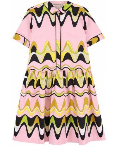 Платье миди с отложным воротником хлопковое Emilio Pucci