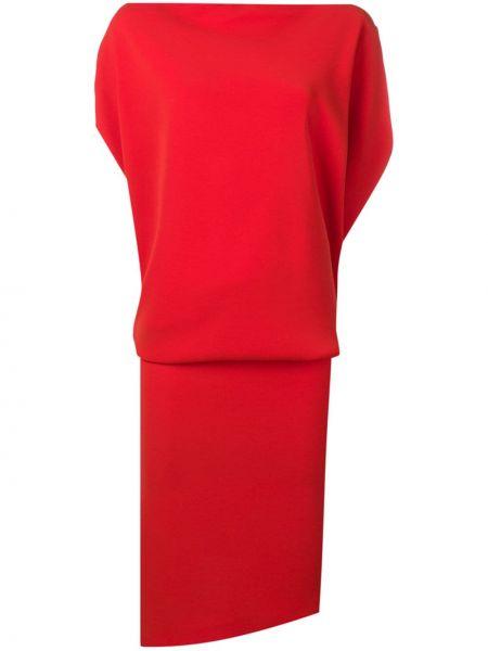 Драповое приталенное платье мини с драпировкой с воротником Poiret