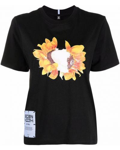 Хлопковая черная футболка с короткими рукавами Mcq