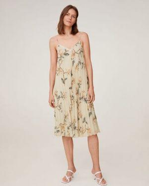Облегающее платье с цветочным принтом плиссированное Mango