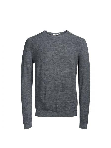 С рукавами серый шерстяной пуловер с круглым вырезом Jack & Jones Premium