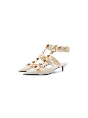 Кожаные бежевые туфли с подкладкой Valentino