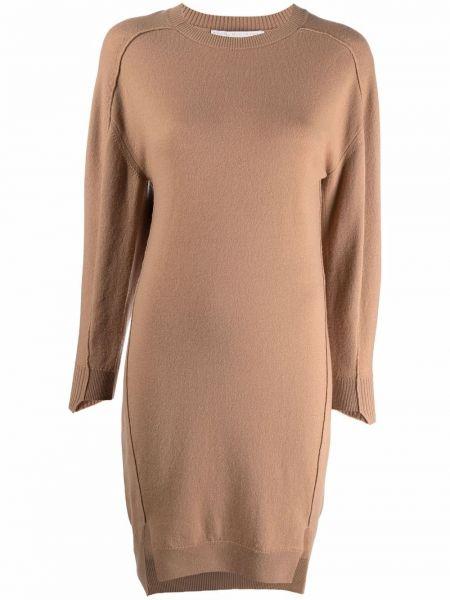 Платье макси с длинными рукавами - коричневое Stella Mccartney