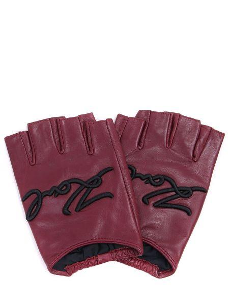 Перчатки без пальцев кожаные с вышивкой Karl Lagerfeld