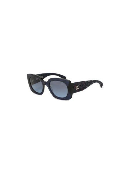Муслиновые синие солнцезащитные очки свободного кроя Chanel