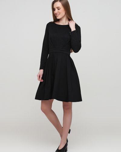 Хлопковое черное платье макси с поясом Naf Naf