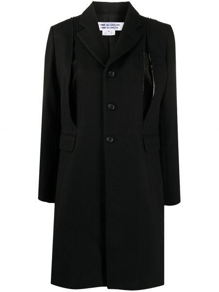 Прямое шерстяное черное длинное пальто Comme Des Garçons Comme Des Garçons