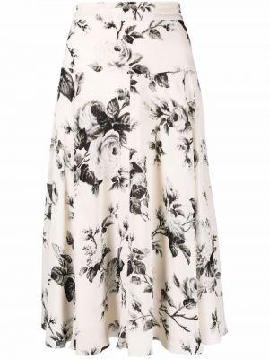 Шелковая юбка миди - белая Erdem