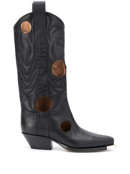 Czarny kowboj buty na pięcie z prawdziwej skóry kwadratowy Off-white