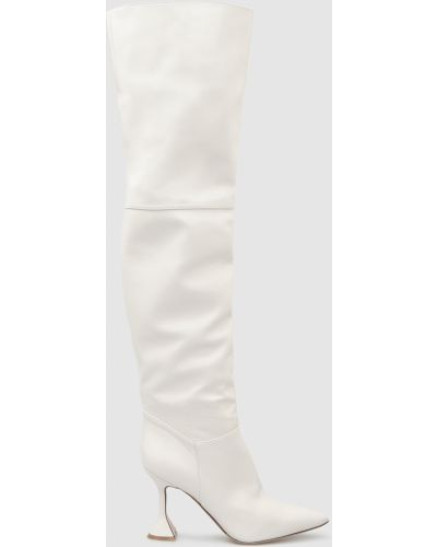 Кожаные ботфорты - белые Babe Pay Pls